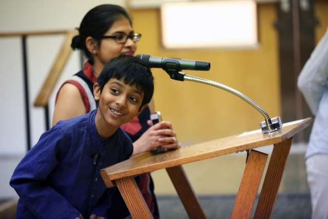 Second Grader Shares Jain Tradition in Chapel
